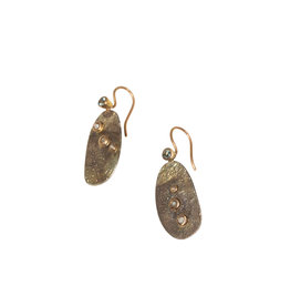 Oval Earrings with Diamonds and Sapphires in Shibuichi and 14k Yellow Gold