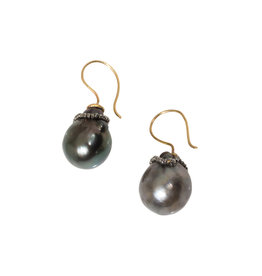 Tahitian Baroque Pearl Earrings in 14k Yellow Gold with Steel