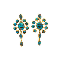 Rose of Samarkand Persian Earrings Post Earrings with Turquoise and Gold
