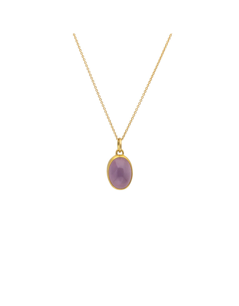 Holly Lavender-Blue Chalcedony Pendant in 22k and Silver