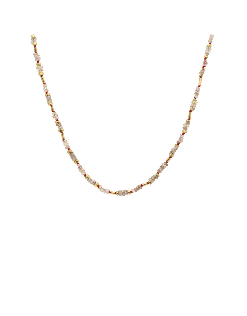 Rough Diamond Bead Necklace on Red Silk with 18k Gold