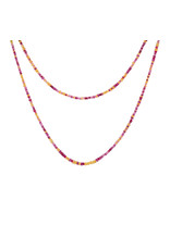 Long Pink and Orange Sapphire Necklace