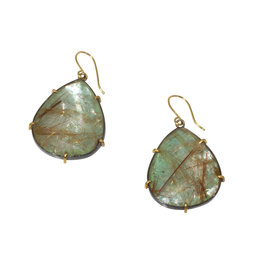 Rutilated Quartz Doublet Earrings in 18k Gold