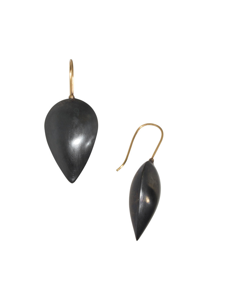Pod Earrings in Oxidized Silver and 18k Gold