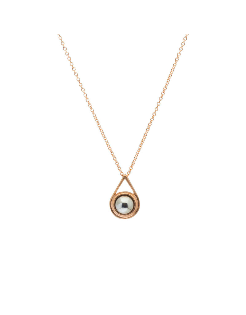 Small Ball Bearing Drop Pendant in 14k Rose Gold