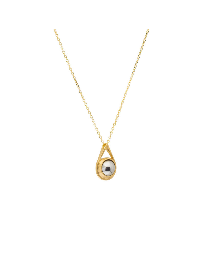 Small Ball Bearing Drop Pendant in 18k Yellow Gold