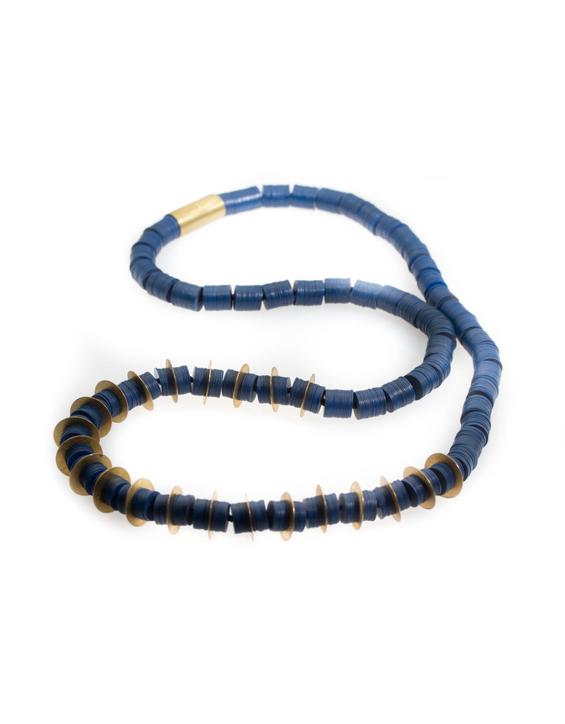 Large Indigo Vinyl Bead and Brass Disc Necklace