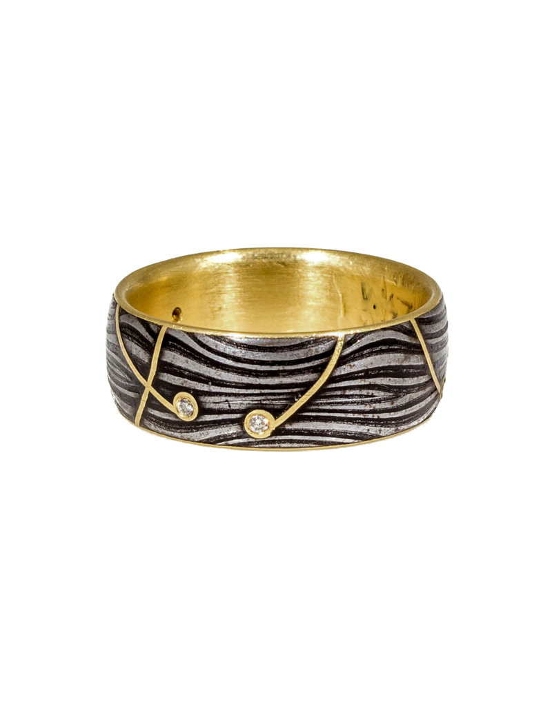 Lollipop Band with Diamond in Damascus Steel and 18k Yellow Gold Lining