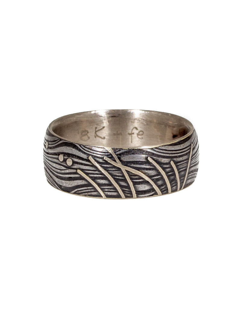 Sea Weed Bunch Band in Damascus Steel and 18k White Gold Lining