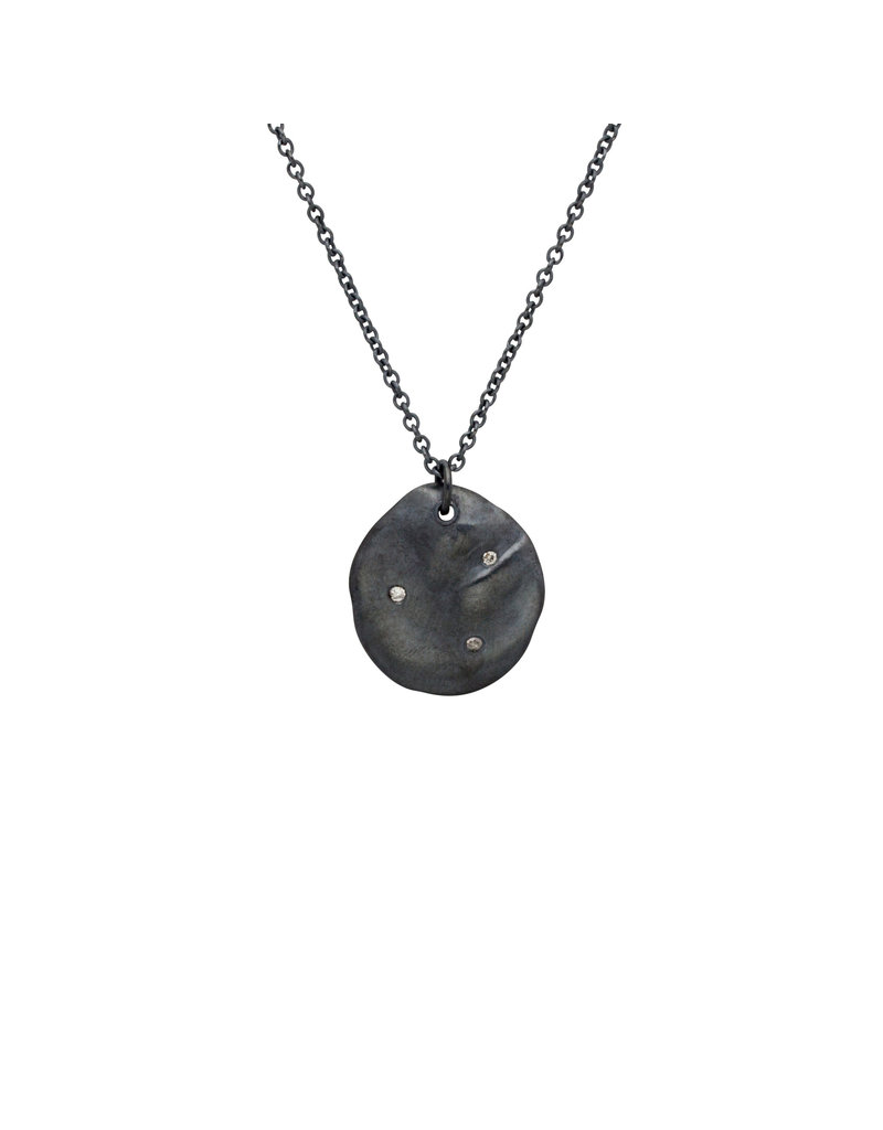 Lady Slipper Pendant in Oxidized Silver with Grey Diamonds