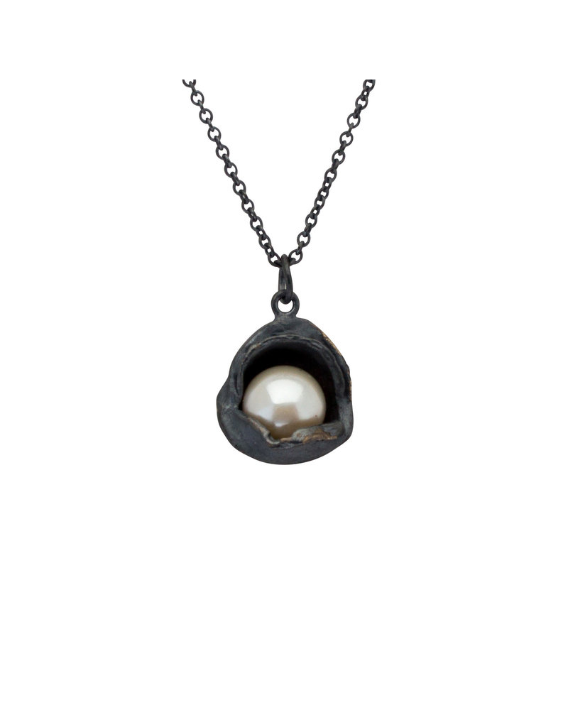 Water Droplet Pearl Pendant in Oxidized Silver