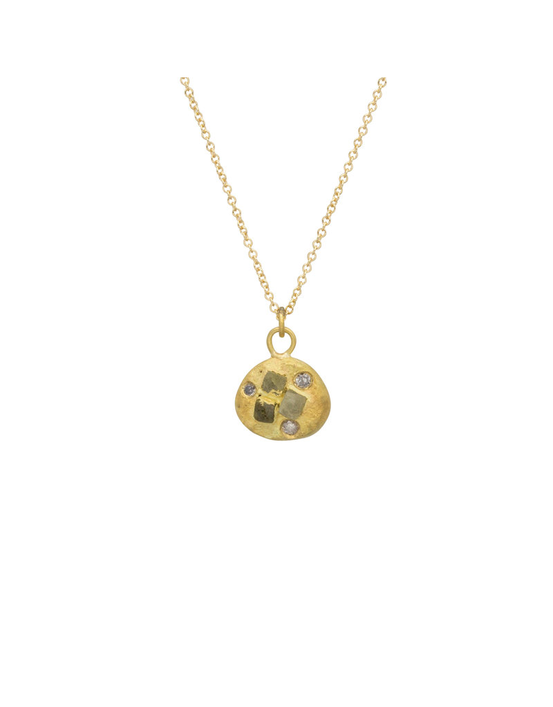 Raw and Grey Diamond Pendant in 18k Yellow Gold