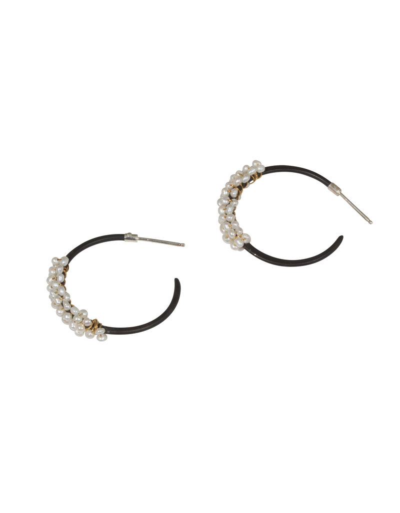 Small Growth Hoop Earrings in Steel with Pearls and 22k Gold Wire