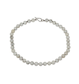 Conch Shell Bead Necklace with Silver Clasp