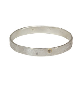 Silk Bangle in Silver with Grey Diamonds