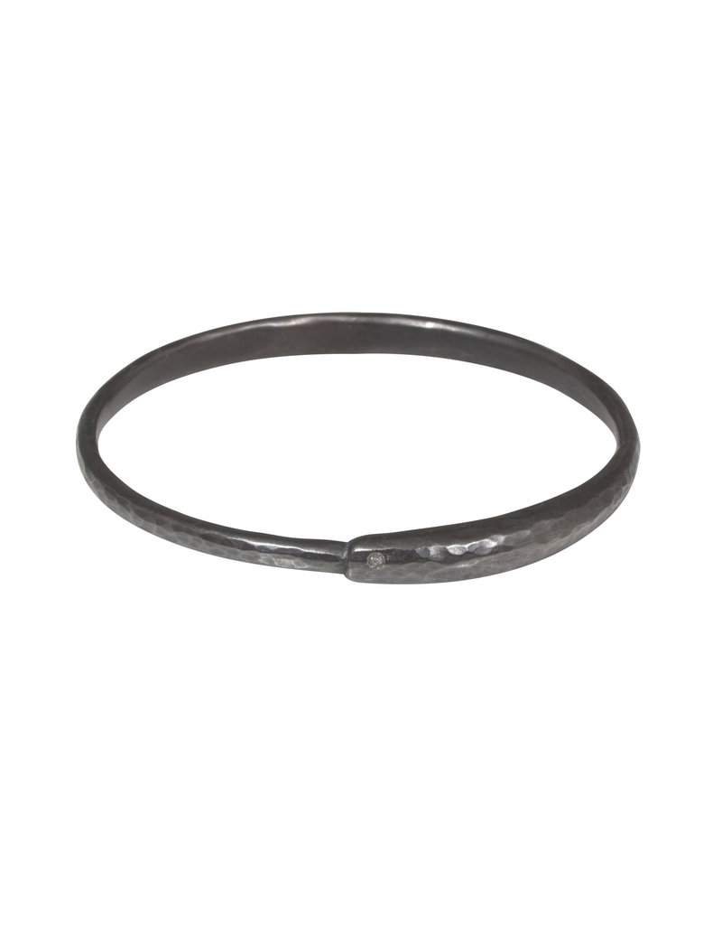 Ourborous Bangle with Grey Diamond in Oxidized Silver
