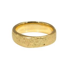 5mm Half Round Silk Textured Ring in 18k Yellow Gold