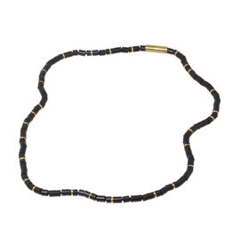 Black Vinyl Beads and Brass Necklace