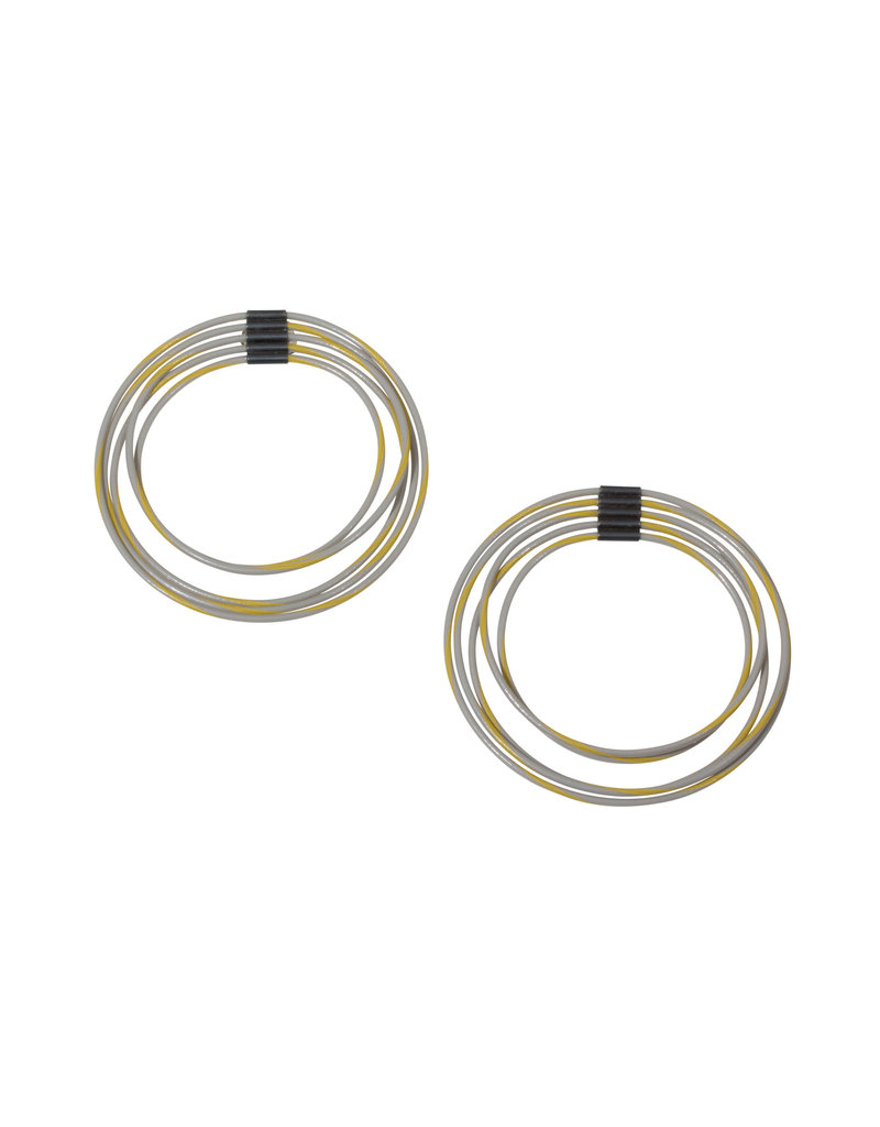 Five Loops Gray/Yellow Post Earrings