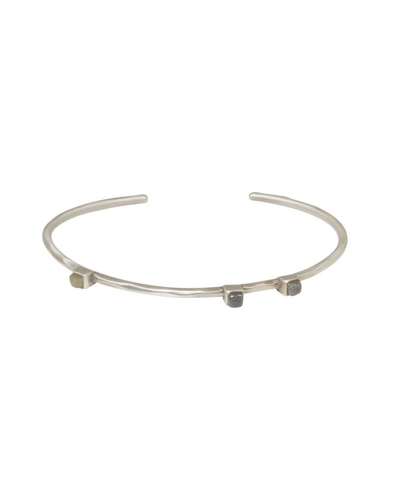 Fredrica Cuff Bracelet with Raw Diamonds in Silver