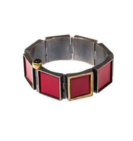 Panel Bracelet with Red Enamel and 22k Gold in Oxidized Silver