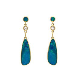 Earrings with Opal Triplets and Diamonds in 18k Yellow Gold