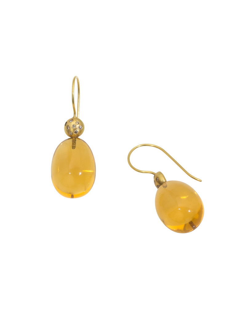 Citrine Egg Earrings in 18k Yellow Gold with Cognac Diamonds