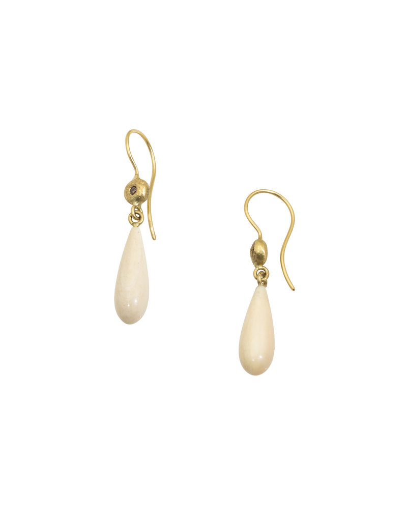 Fossilied Walrus Ivory Earrings with 18k Gold and Cognac Diamonds