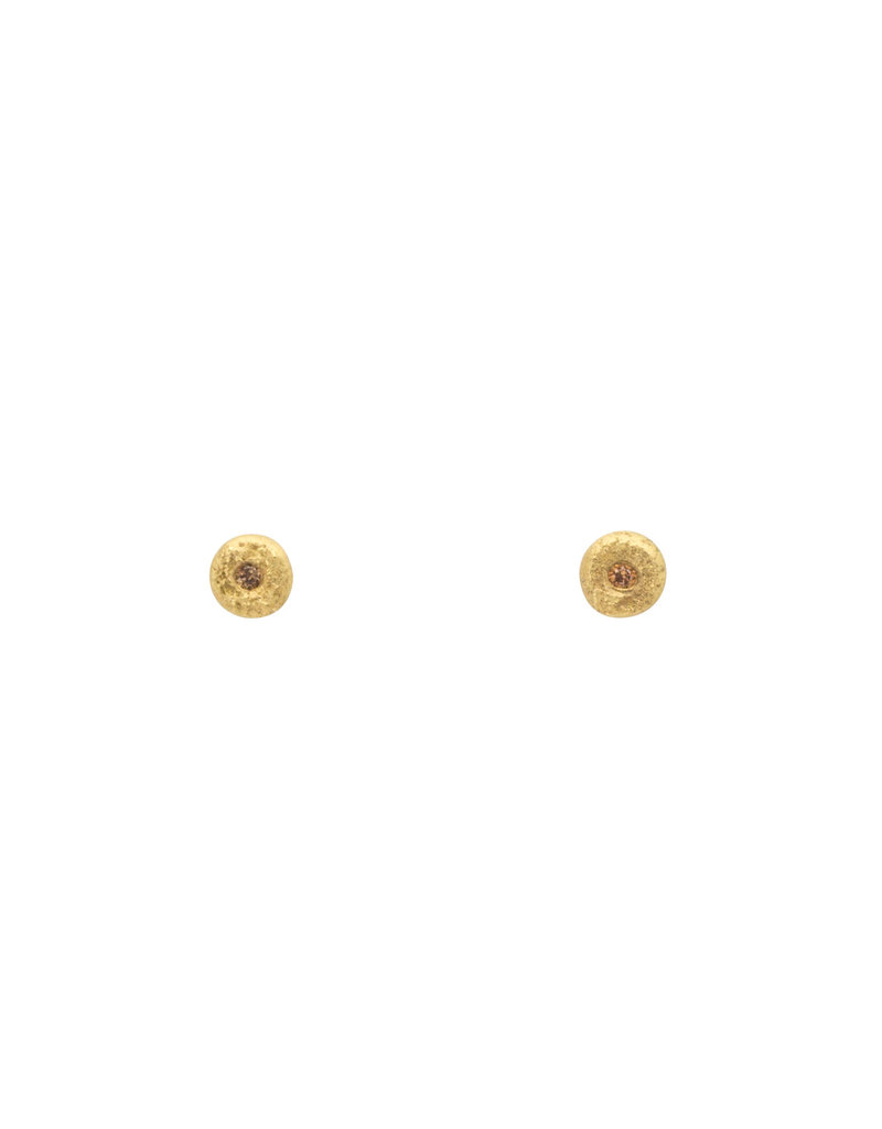 Cognac Diamond Post earrings in 18k Gold
