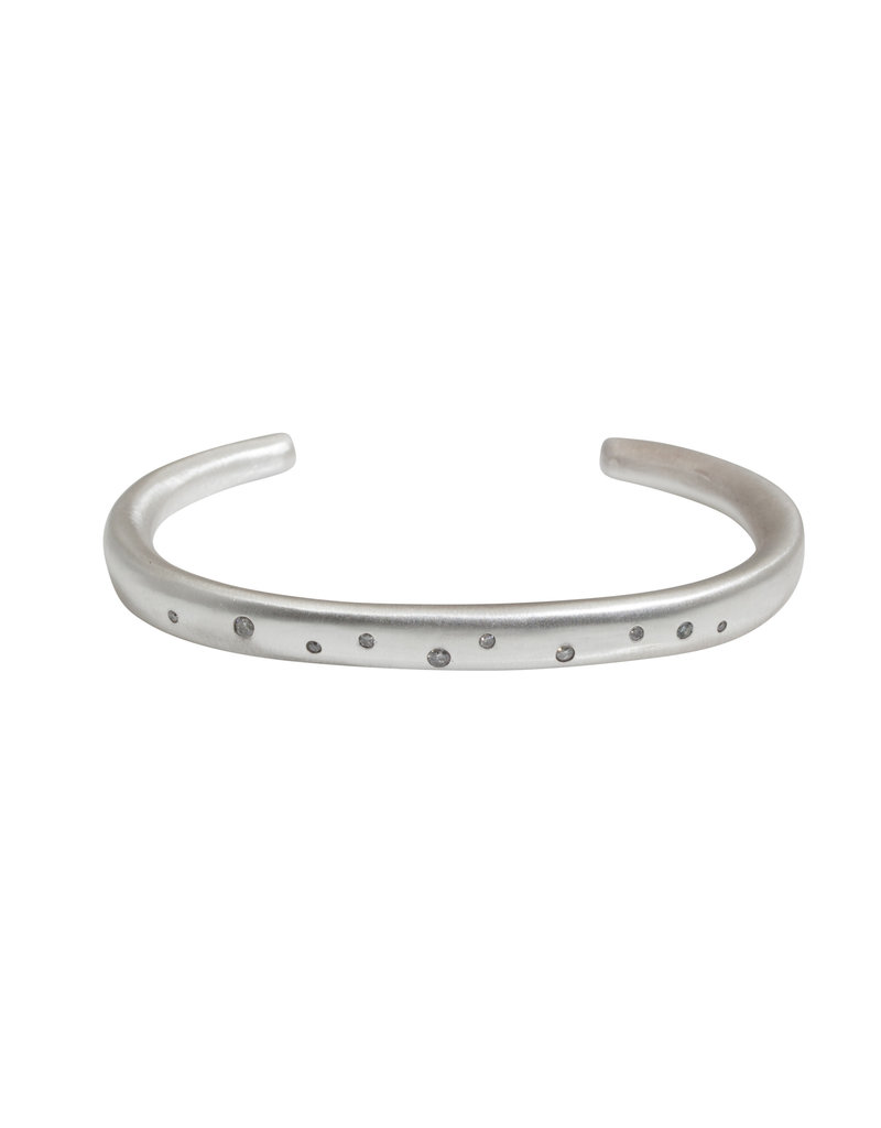 Plain Cuff with 11 Grey Diamonds in Silver