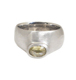 Offset Yellow Diamond Ring in Wide Platinum Setting