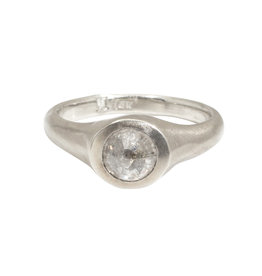 Round Rose Cut Ice Diamond in 14k White Gold