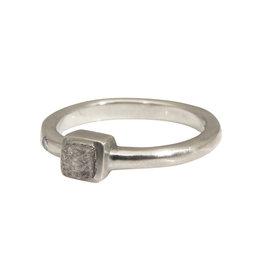 Raw Diamond Ring in 14k White Gold
