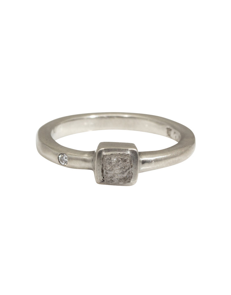 Raw Diamond Ring in 14k White Gold
