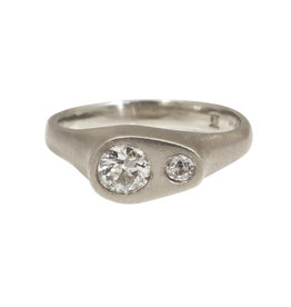 Ni Tsuki Two Diamond Ring in 14k White Gold