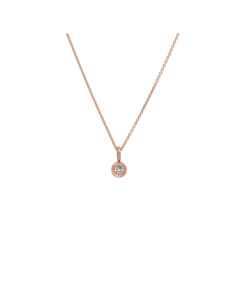 Small Brilliant Diamond Pendant in 14k Rose Gold