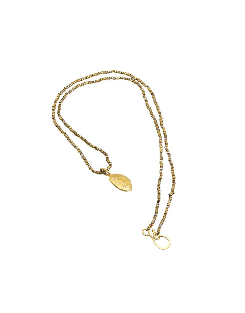 Leaf Pendant in 18k Yellow Gold with 6 White Diamonds on Steel Cut Chain