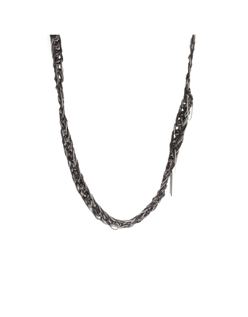 Classic Ribbon Necklace (Chocolate and Ash)