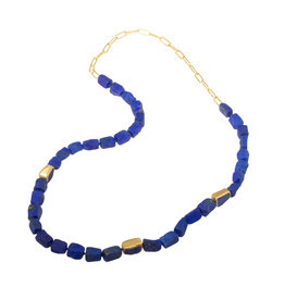 Lapis Bead Necklace with 22k Gold Chain