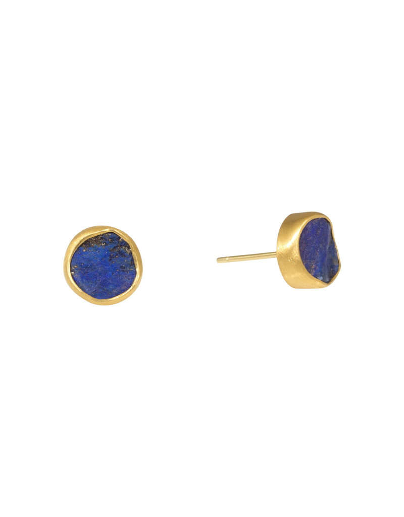 Rough Lapis Post Earrings in 22k and 18k Yellow Gold