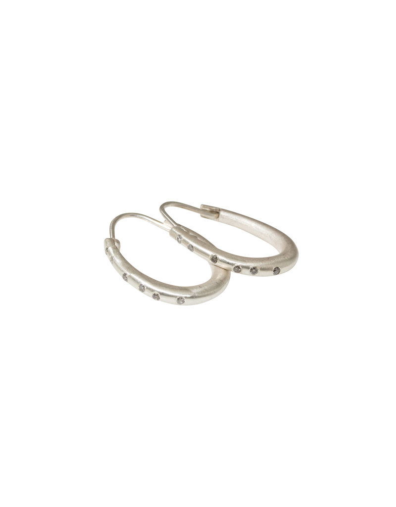 Small Katachi Oval Hoop Earrings with Locking Wire in Brushed Silver and Grey Diamonds