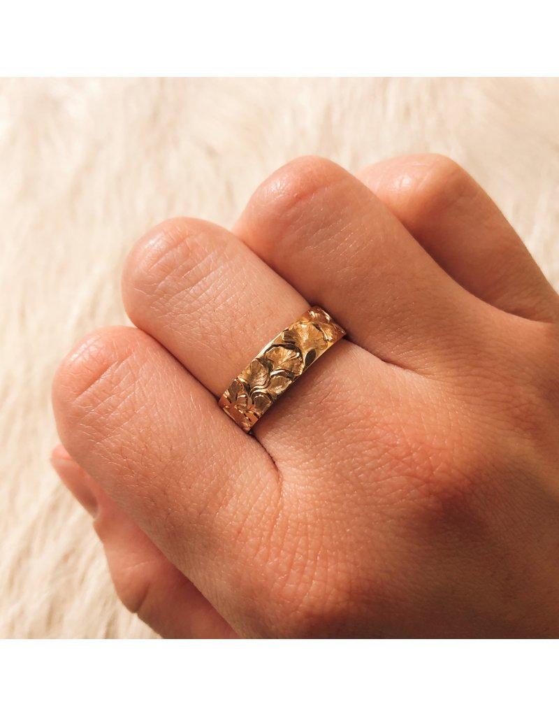 Ginko Biloba  Ring Band (6mm) in 14k Gold