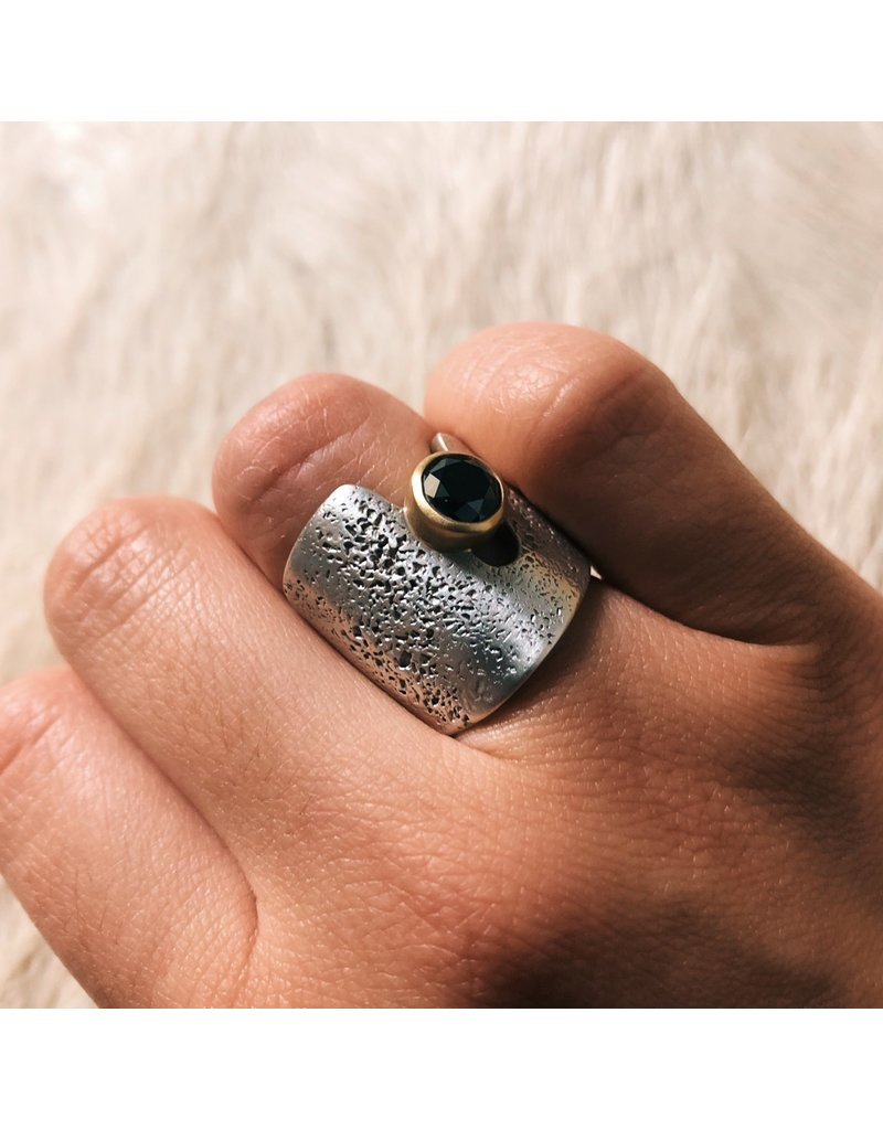 Textured Cuba Ring in Silver with Black Diamond in 18k Yellow Gold