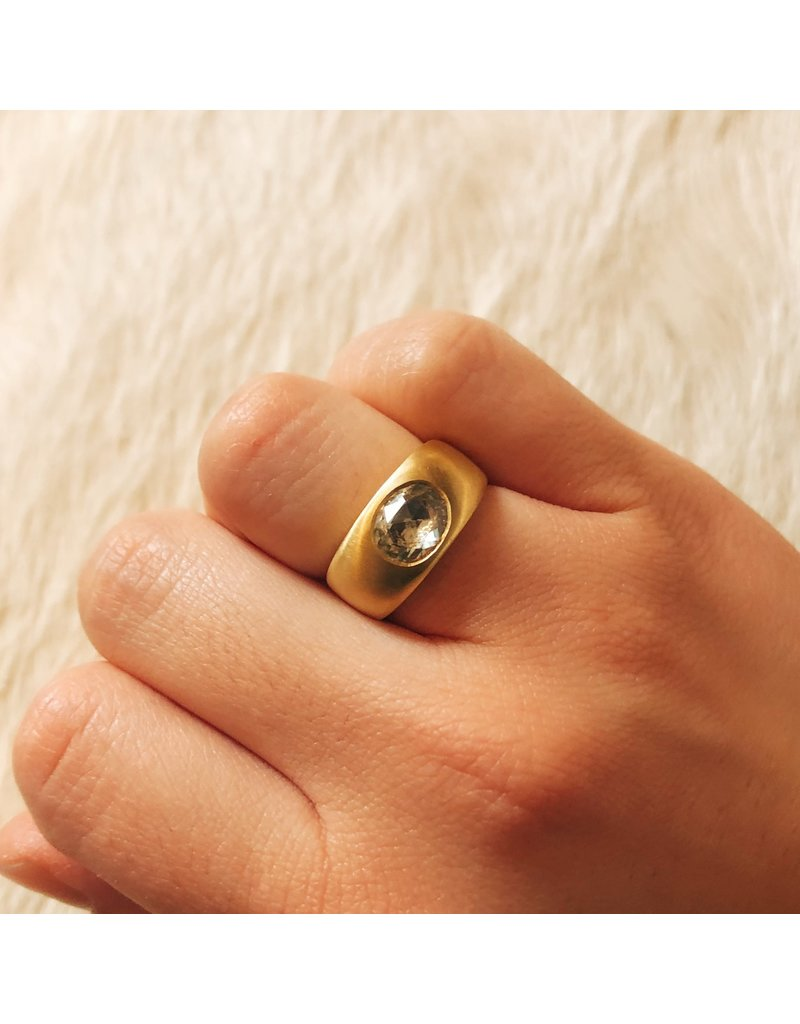 Oval Rosecut Sapphire Ring in Wide Band in 18k Yellow Gold