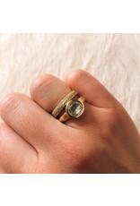 Organic Shaped Rose Cut White Diamond Ring in 18k Yellow Gold
