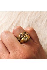 Horizontal Organic Oval Diamond Crystal Ring in 22k