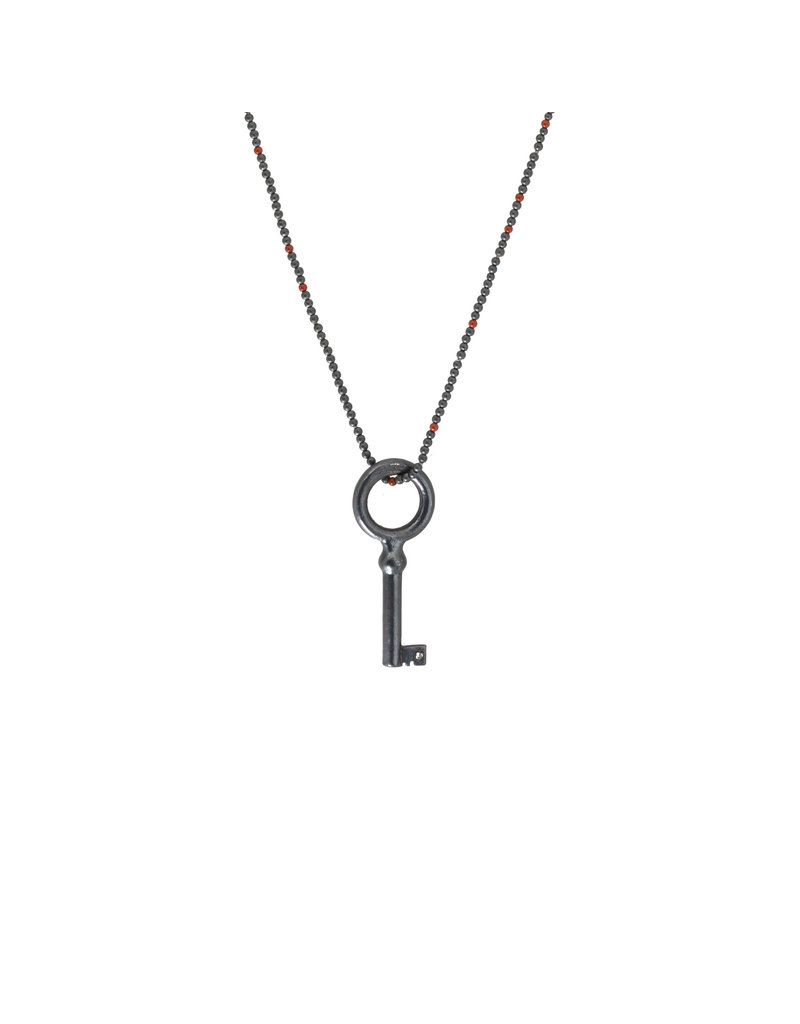 Antique Skeleton Key in Oxidzed Silver with One Gray Sapphire