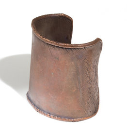 June Schwarcz Copper Cuff with Light Patina, Wrinkled Edges