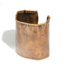 June Schwarcz Copper Cuff with Oil Patina, Foldover Edges