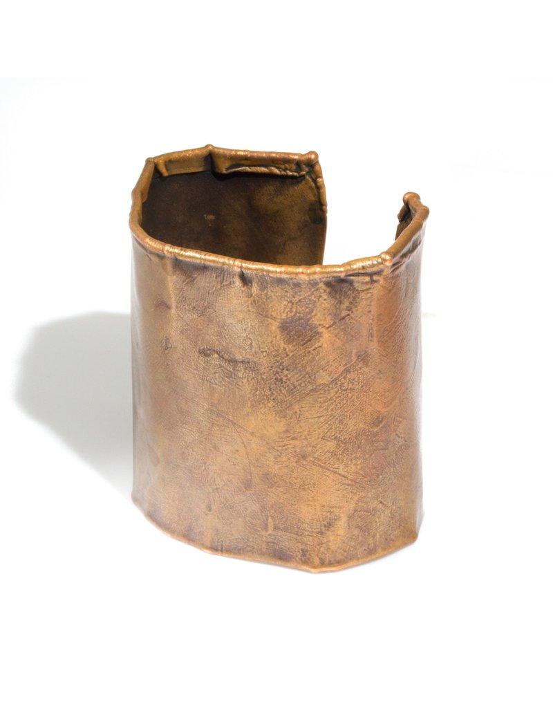 June Schwarcz Copper Cuff with Oil Patina, Foldover Edges